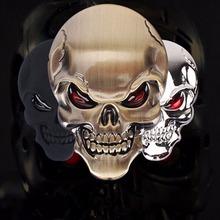 1pcs 3D Skull zinc alloy Metal Car Motorcycle Sticker Skull Emblem Badge car styling stickers accessories