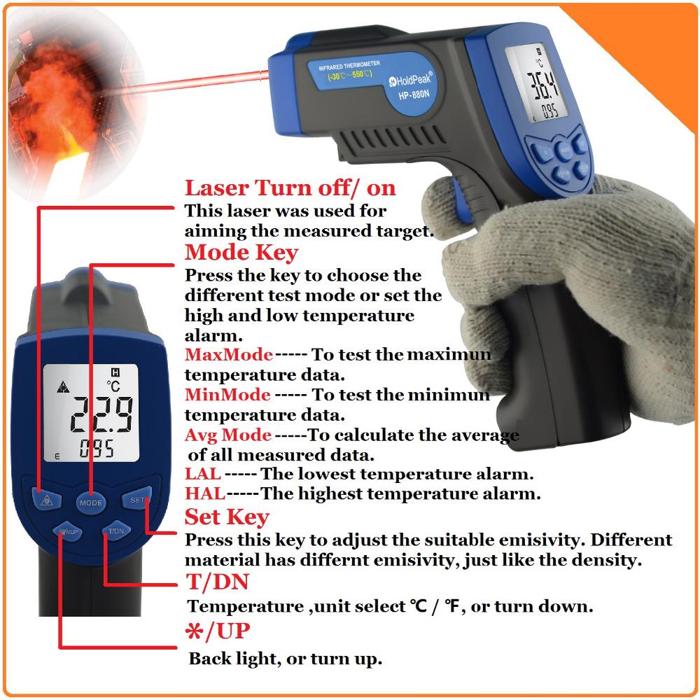 HoldPeak HP-880N Digital Non Contact Infrared Thermometer Laser Temperature Instrument -30--550'C / -22--1022'F - Zhuhai Jida Huapu Co., Ltd. store