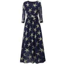 2016 New Fashion Women Print maxi dress summer casual o-neck half sleeves beach style long dress Plus Size L-6XL Starfish Print