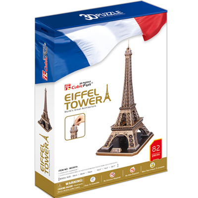 Promotion Gift Cubic Fun 3D Puzzle Toy Eiffel Tower (France) Model DIY Puzzle Toy MC091h(China (Mainland))