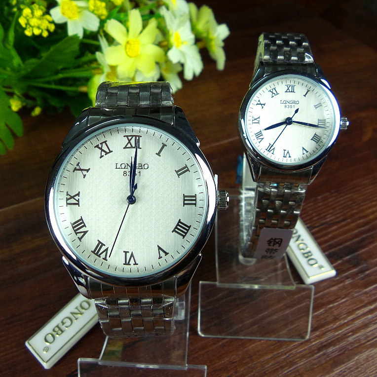Quality steel strip lovers watch set lovers christmas gift business gift table(China (Mainland))