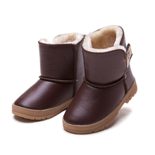 15-20cm winter shoes Children waterproof rubber boots boys girls thickening cotton shoes kids leather warm thermal snow shoes(China (Mainland))