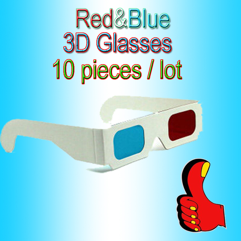 Wholesale Price Selling 10pcs/lots Wall Paper 3d Glasses Red-Cyan/Blue Paper Card 3D 3-D Anaglyph Glasses(China (Mainland))