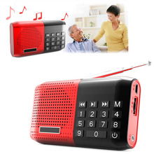 Portable Digital Stereo Mini FM Radio MP3 Music Player Speaker Support TF Card Earphone Red Sound Box