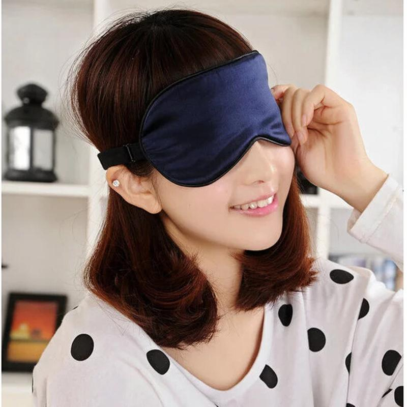 22.5*11Cm Silk Eyeshade Soft Eye Mask Sleeping Aid Shade Cover Travel Relax Blindfold NEW Sleep & Snoring(China (Mainland))