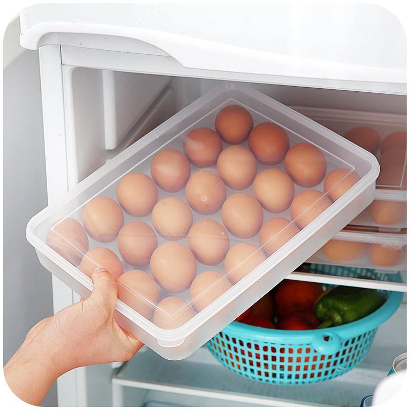 2016 New Independent kitchen refrigerator food 21pcs Dumplings (Jiaozi) box & 24pcs Egg box seafood Folding storage box(China (Mainland))