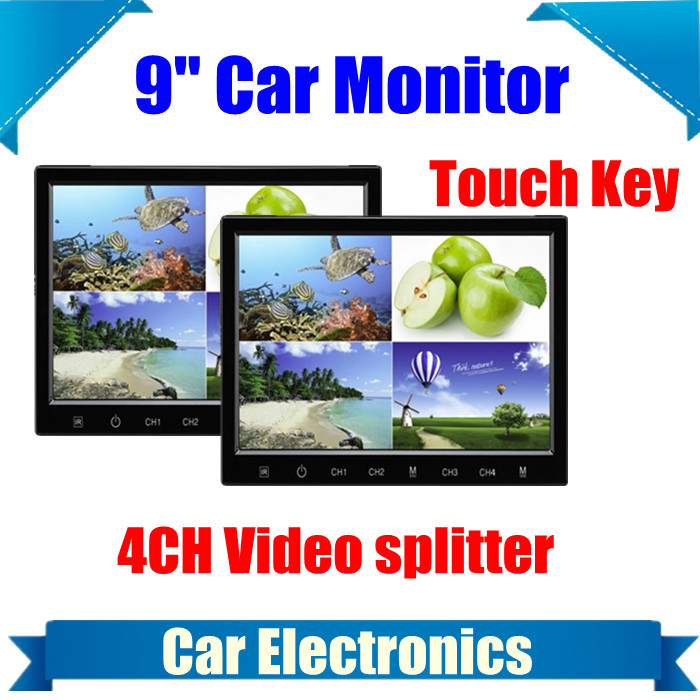 9 inch 16:9 Digital HD Car Truck 4 way Video Splitter Standalone headrest Monitor car dvd player Display Monitors Touch Key - EyeBuy store