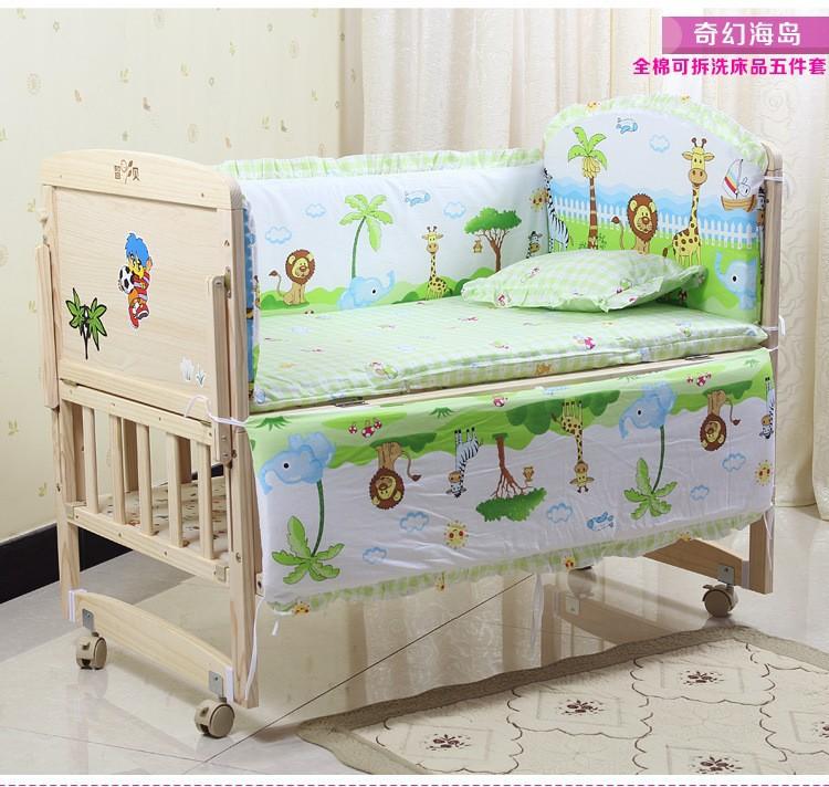 Фотография Promotion! 10PCS Baby bedding set crib bedding set 100% cotton bedclothes (bumpers+matress+pillow+duvet)