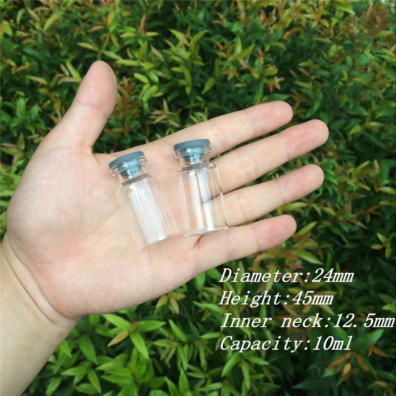 10ml Glass Vials Bottles with Rubber Stopper Mini Bottles Jars Injection Vials for Liquid Leakproof Storage7