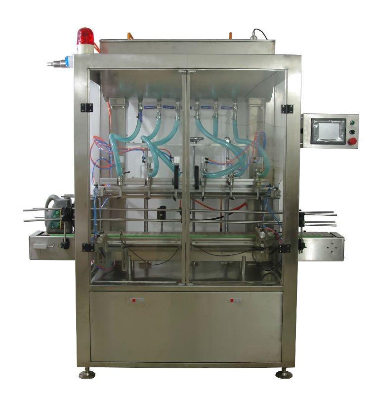 Automatic Liquid Filling Production Line 6 Nozzle (Automatic 6 head liquid filling machine, automatic oil dosing machine )(China (Mainland))