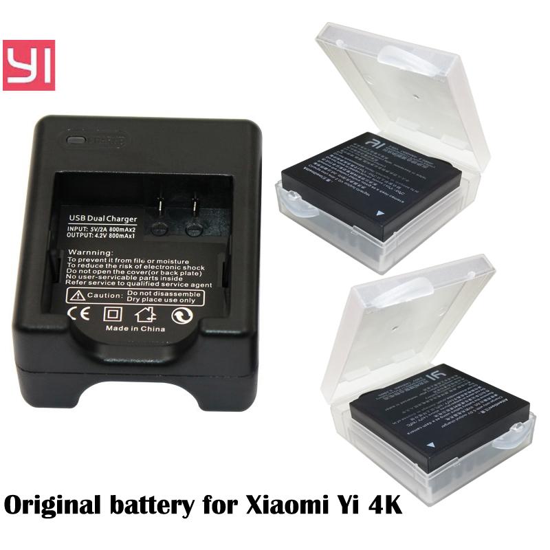 2x AZ16-1 Original Xiaomi Yi 2 4K battery +USB Dual Bateria Charger For XiaoYi 2 4K Xiaomi Yi II action camera Accessories