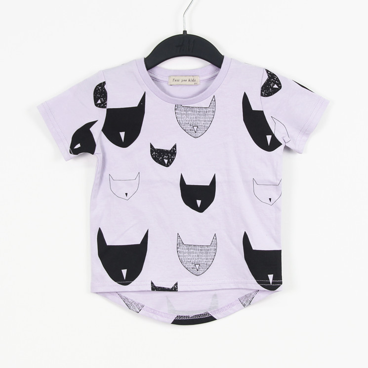 Free Shipping 2014 Brand New Premium 100 Cotton Jersey allover cat print Short Sleeve boy s
