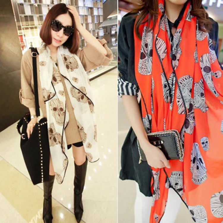 2014 Designer Fashion Skull Scarf Women Fall Shawls Hot Selling Chiffon Pashmina Scarves Ladies s W109 - Yu BeautyIng Industry Co.,Ltd. store