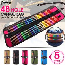 Bianyo 48 Hole Canvas Pencil Case Pencil Bag Roll Up Bag Escolar Estuche Box Stationery Cute Estojo Portable Gifts(China (Mainland))