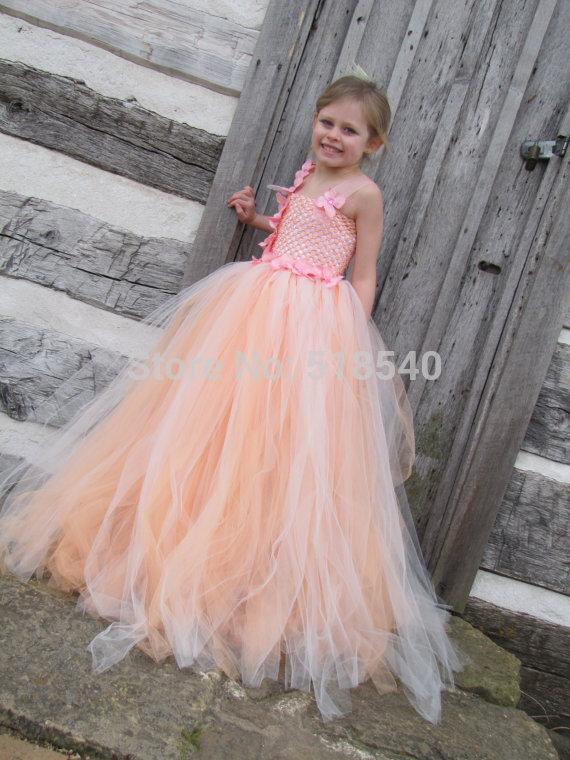 New F14 Flower Girl Dresses 2015 Pink Handmake Flowers Girl Dresses for Weddings Party Dresses Kids Performance Dress Free Shipp(China (Mainland))