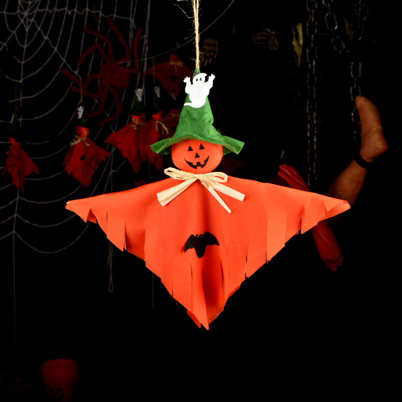 ,40cm,Halloween props supplies bar decoration orange hanging pumpkin ghost item - HH Party Costume Store store