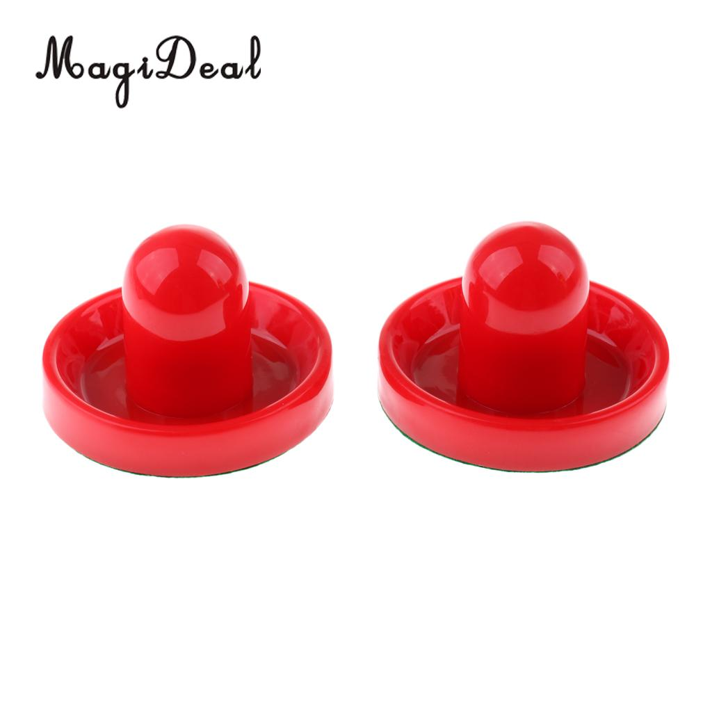 MagiDeal 2 Pieces 77mm Air Hockey Felt Pushers Goalie Handles Paddles Replacement Medium Red