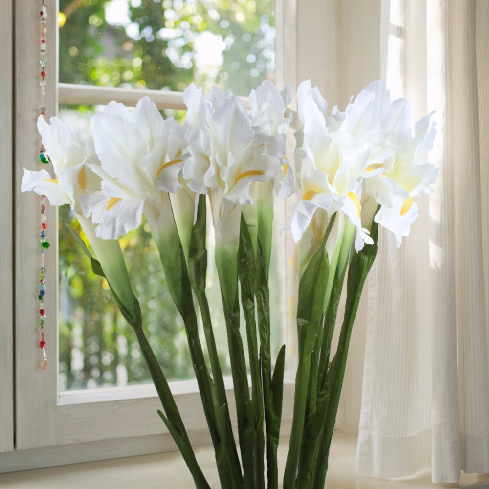 Online cheap white iris artificial flower decorative fake flowers brand name meihon occasion wedding model number ywh71429 style flower type iris texture of material silk flower technology manual type a vase of izmirmasajfo Choice Image