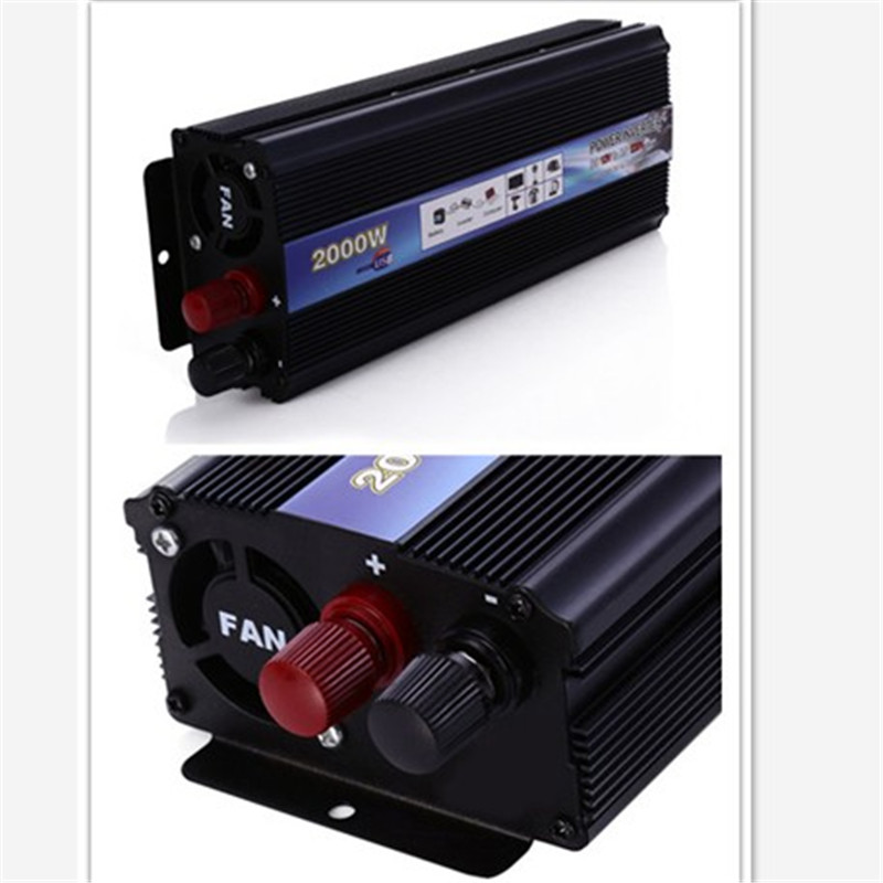 Black 2000W power inverter Car Vehicle USB DC 12V to AC 220V Power Inverter Adapter Converter car styling(China (Mainland))