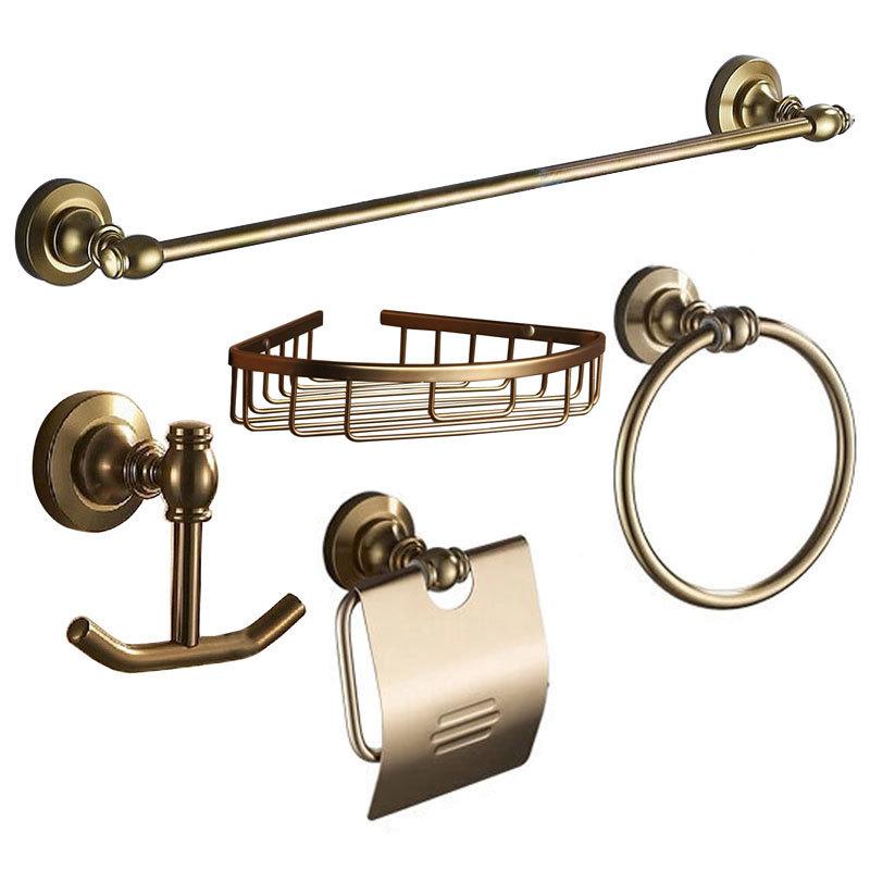 European Vintage Aluminum House Bathroom Hardware Bath Decorative Accessories Sets With Towel