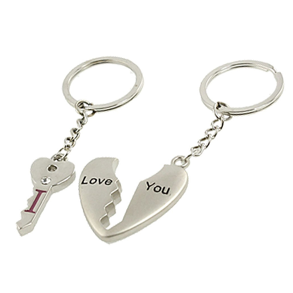 FABY Hot New Practical Couples Silver Tone Metal Heart Key Pendant Keychains Keyrings<br><br>Aliexpress