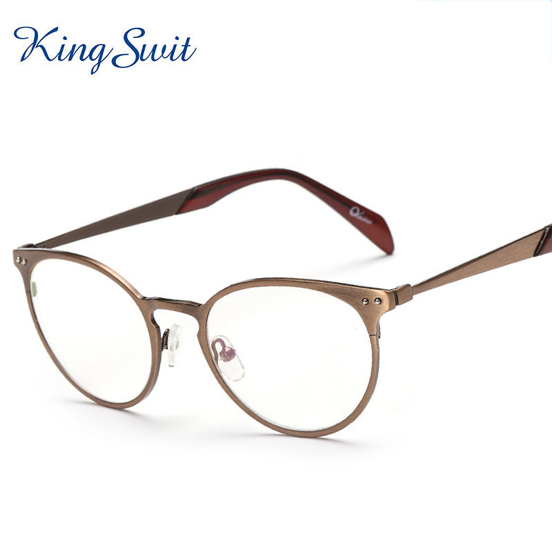 Glasses Frames Fashion : KingSwit 2016 Fashion Clear Eyeglasses Men Round Golden ...