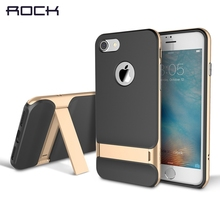 Buy ROCK Royce Series iPhone 7 Case Holder iPhone7 Bracket Cover i7 Silicone Case + PC Frame Kickstand Case +Free for $10.46 in AliExpress store