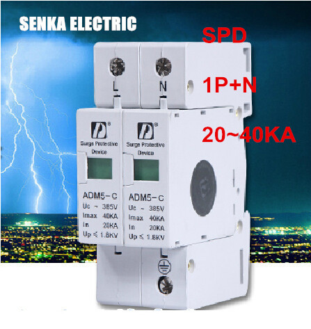 SPD 20-40KA 1P+N surge arrester protection device electric house surge protector C ~385V AC(China (Mainland))