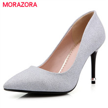 Buy MORAZORA 2017 Women pumps shallow single spring autumn high heels shoes big size 32-42 contracted fashion party shoes work for $31.20 in AliExpress store