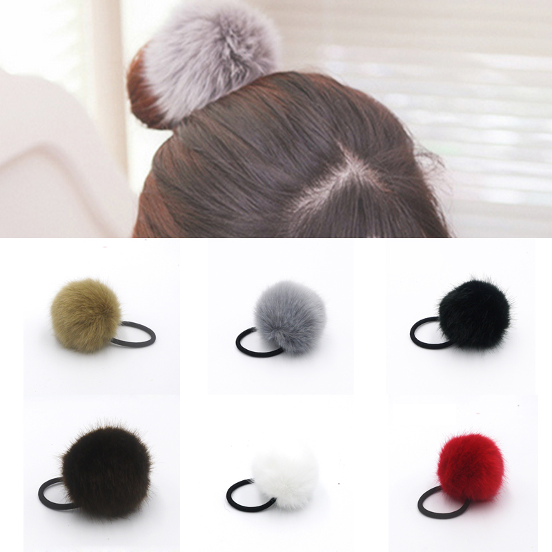 1Pcs Elastic Hair Bands Elastic Ring Rope Rubber Band Fake Rabbit Fur Knot Headband Scrunchy Gum Springs Hair Accessories(China (Mainland))