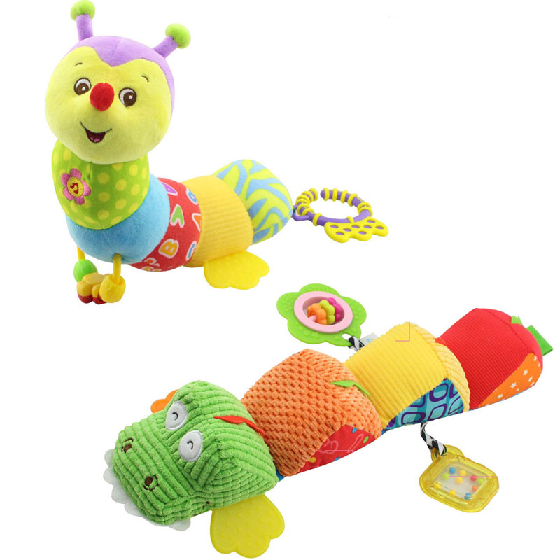 Musical Light Flashing soft Baby Toys stuff Caterpillar with Ring Bell Cartoon Animal Plush creative Doll Early Education gift(China (Mainland))