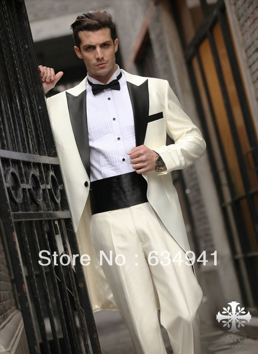 custom cheap western wedding new long style groom tuxedos man for suits luxury ivory italian men. Black Bedroom Furniture Sets. Home Design Ideas