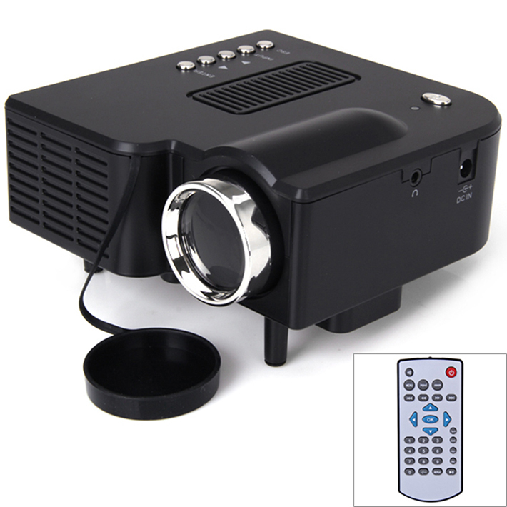 Black uc28 mini projector with hdmi vga av usb sd led for Small hdmi projector