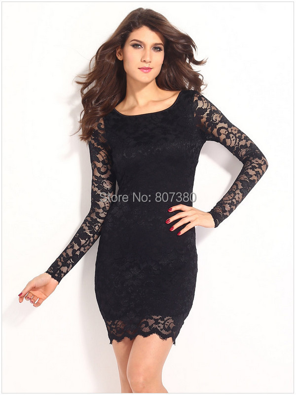 Long Sleeve Embroidery Lace Mini Dress Sheath O-neck Backless Tassel Beads One Piece - Rose-Jewelry store