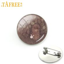 Tafree Landak Dalam Kabut Bros Pria Wanita Pin untuk Buatan Tangan Fashion Round Glass Nacture Gaya Hewan Lucu Perhiasan Logam h238(China)