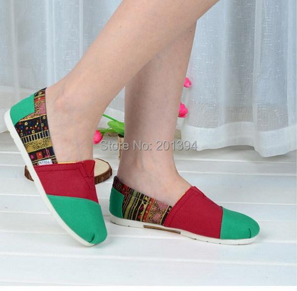Здесь можно купить  Free Shipping! 2014 Bohemia NEW Womens Classic Casual Fashion Flat Slip on Shoes Flower Print Folk Style Espadrille Size 35-40  Обувь