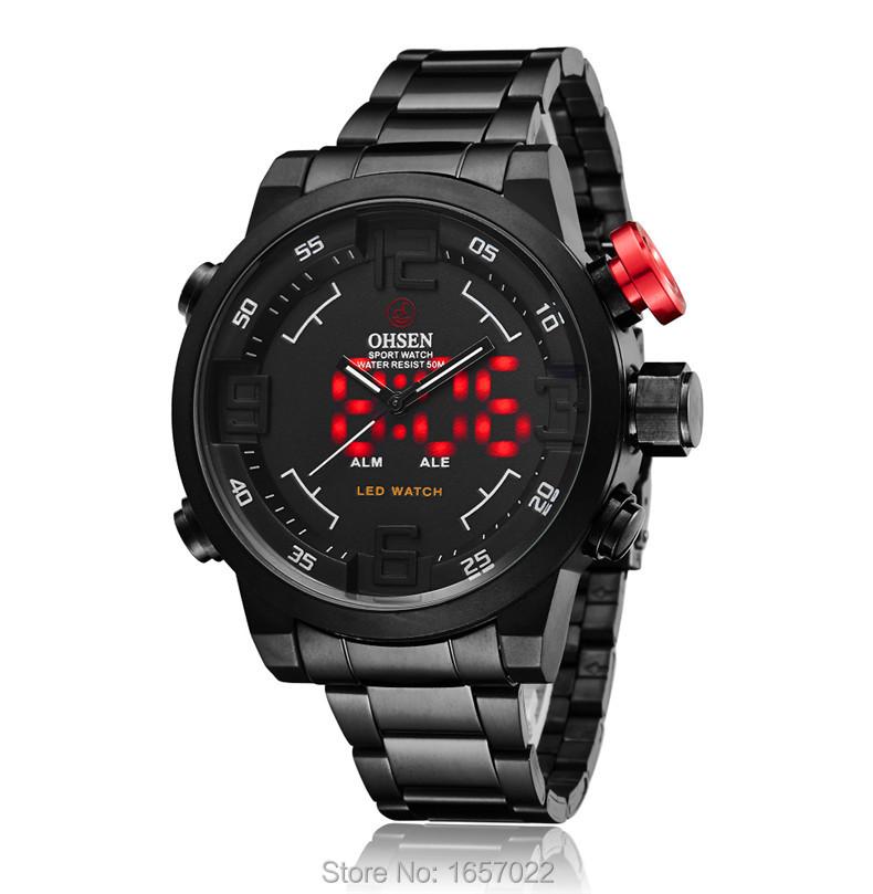 Оригинальный человек роскошные подарки водонепроницаемый цифровой Военные Часы мужская мода большой циферблат спорт Серебристые красный led watch
