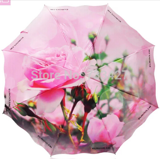 Luxury Automatic 3 Fold Red Rose Painting Umbrella Wedding Umbrellas Parasol guarda chuva For Men & Women With Box packaging(China (Mainland))