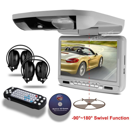"9"" Car Flip Down DVD Player Auto Roof Mounted Monitor Ceilling Overhead DVDCD/Mp3/ SD/ USB/ Game/ IR/ FM Free 2pcs Headphones(China (Mainland))"