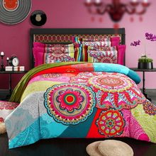 2017 bohemia duvet cover ,winter comforter cover bedsheet Pillow Sham 4pc bedding sets queen king 100% sanded Cotton Fabric(China)