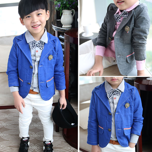Children dress suit flower boy suit jacket casual suit dot Korean gentleman baby in spring and Autumn(China (Mainland))