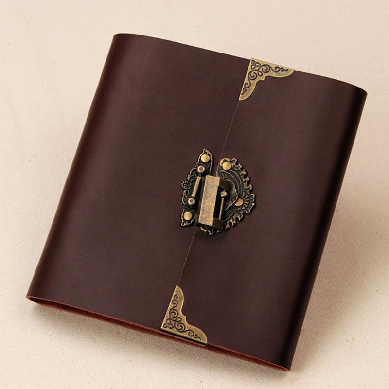 Leather Lock Wedding Guest Book Black Scrapbook Album Gift Set 400gsm Leather Photo Album Book