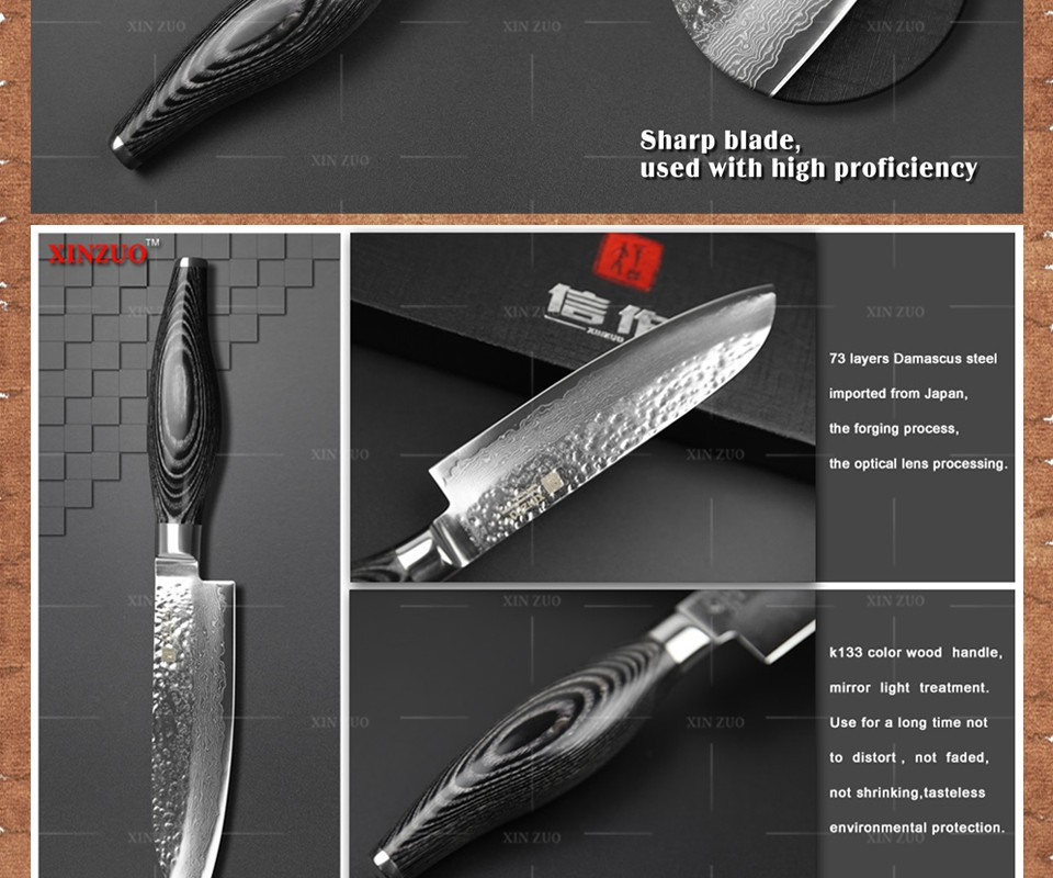 "Buy XINZUO  5""  inch santoku knife 73 layers Damascus kitchen knife fruit japanese VG10 chef knife  Color wood handle free shipping cheap"