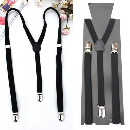 2017 Hot Style Adjustable Plain Black Braces Suspenders Heavy Duty Unisex Mens Ladies 1.5cm