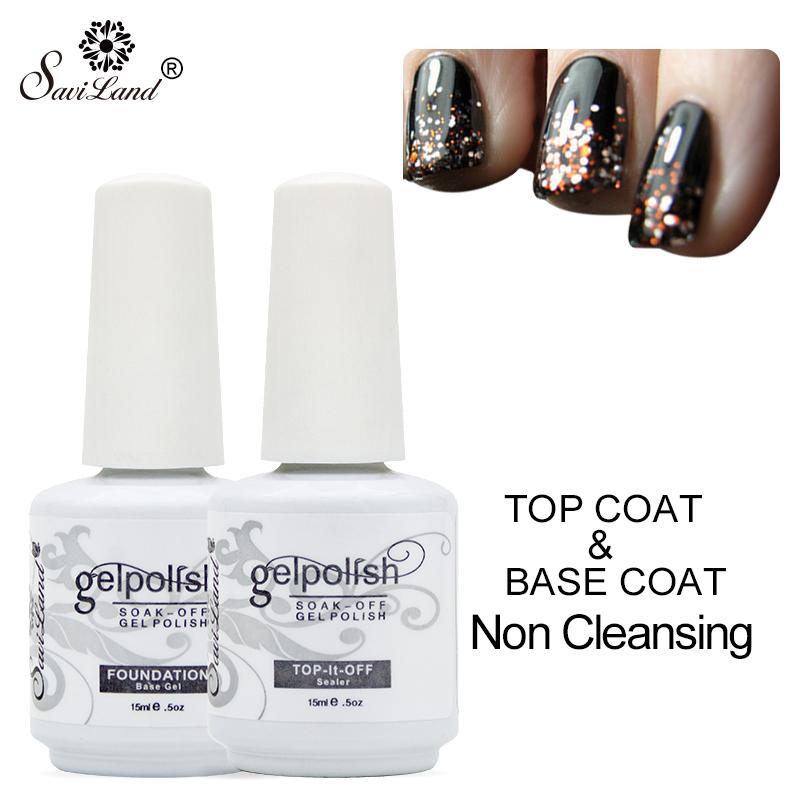 Saviland 15ml Foundation Coat Top It Off Nail Gel Polish Primer Non-Cleansing Clear Lacquer Uv Gel Soak Off Gel Varnish(China (Mainland))