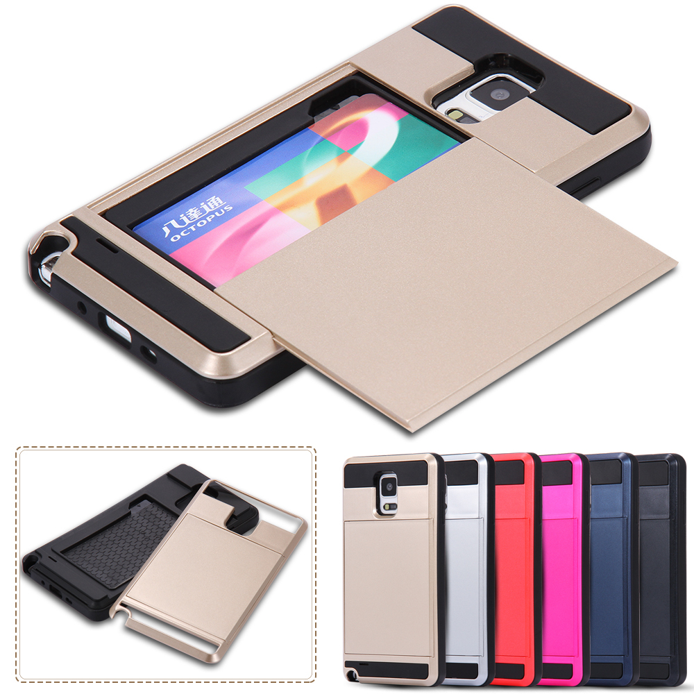 With Storage !! Hard Plastic + Soft Silicon Dual Layer Hybrid Phone Case for Samsung Galaxy Note 4 N9100 TPU Rubber Armor Cover(China (Mainland))