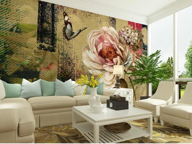 Comprar encargo papel de parede floral for Wallpaper sala de estar