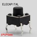 50pcs lot 6x6x6MM 4PIN G91 Tactile Tact Push Button Micro Switch Direct Self Reset DIP Top