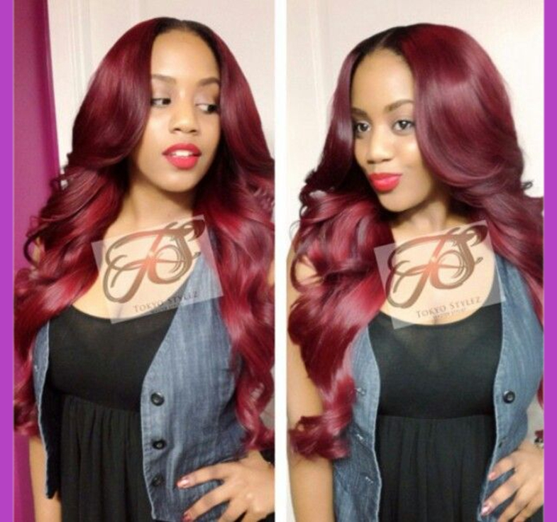 Red color body wave synthetic front lace hair with baby hair for black women,Cheap and 100%fiber wig suit you<br><br>Aliexpress