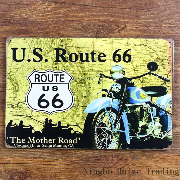 The Mother Rode route 66 vintage metal painting retro metal sign 20cm*30cm art poster wall stickers home cafe bar pub wall decor(China (Mainland))
